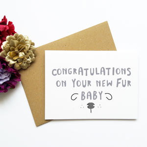 Congratulations New Pet Puppy Fur Baby Card
