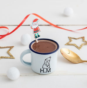 personalised christmas mini mug with santa stirrer
