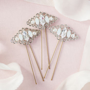 Set Of Three Vintage Bridal Hair Pins Octavia