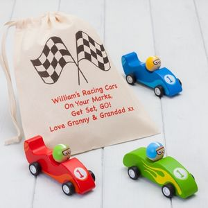 Three Grand Prix Pull Back Cars And Personalised Bag