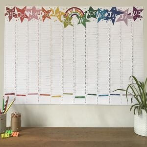 Large Rainbow Star 2020/21 Academic Wall Planner