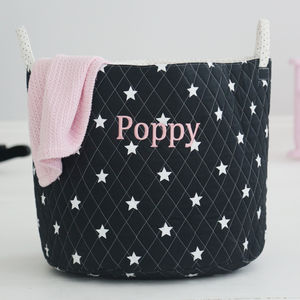 Personalised Star Storage Bag Black - gifts