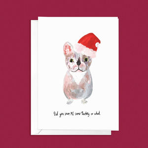 Funny French Bulldog Christmas Card - cards