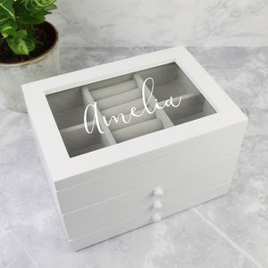 Personalised Wooden Jewellery Box With Drawers - personalised