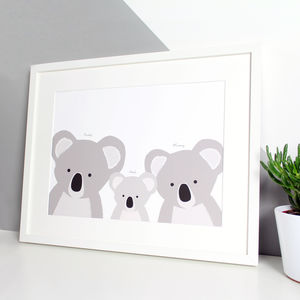 Personalised Koala Family Selfie Portrait Print - animals & wildlife