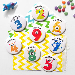 Personalised Monster Birthday Badge - pins & brooches