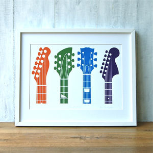 Guitar Headstocks Limited Edition Print - music-lover