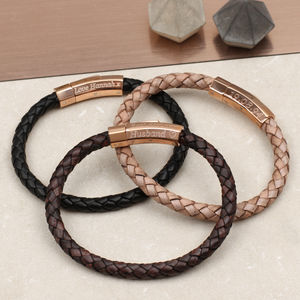 Personalised Rose Gold Clasp Leather Bracelet - 40th birthday gifts
