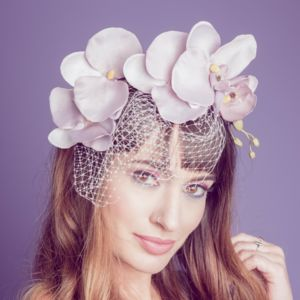Cascading Orchid Fascinator With Veil