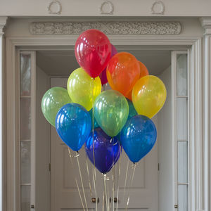Pack Of 14 Jewel Rainbow Party Balloons - outdoor decorations