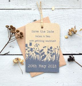 Recycled Wildflower Luggage Tag Save The Date
