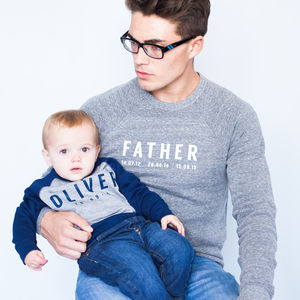Personalised Father And Child Sweatshirt Set Supersoft - babies' dad & me sets