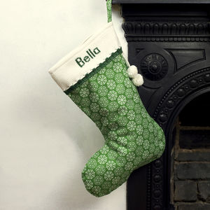 Green Personalised Christmas Stocking With Knitted Cuff - stockings & sacks