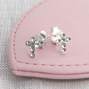 Girl's Tiny Sterling Silver And Crystal Cross Earrings