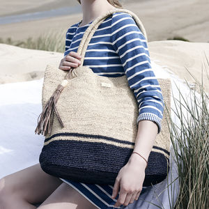 'Seychelles' Hand Crocheted Raffia Shoulder Tote - totes