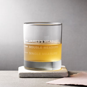 Personalised Drinks Measure Glass - gifts for him