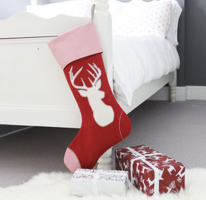 Personalised Red Stag Christmas Stocking - stockings & sacks