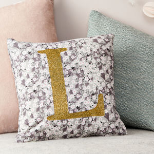 Personalised Liberty Cushion Glitter And Mitsi Grey - gifts for children