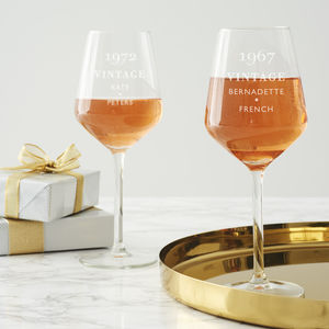 Personalised 'Vintage' Birthday Wine Glass - tableware