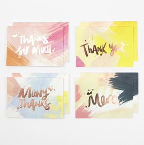 'Thank You' Brushstrokes Cards Pack Of Eight - stationery-lover