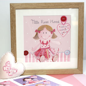 Personalised Rag Doll New Baby Art Print - posters & prints