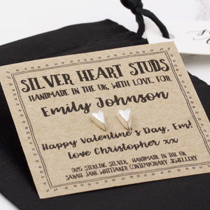 Personalised Handmade Sterling Silver Heart Studs