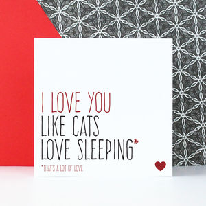 'I Love You Like Cats Love Sleeping' Card
