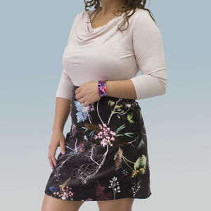 Handmade Floral Pattern Styled Chocolate Tone Skirt - women's fashion