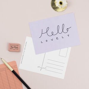 'Hello Lovely' Hand Lettered Simple Postcard