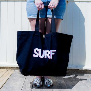 Surf Print Canvas Beach Bag