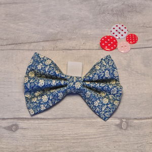 Blue Ditsy Floral Print Side On Collar Dog Bow - dogs