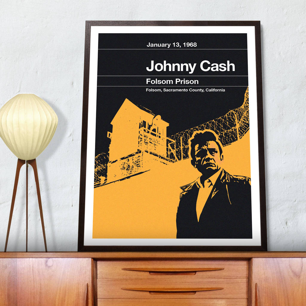 johnny cash remixed folsom prison poster by the stereo typist ...