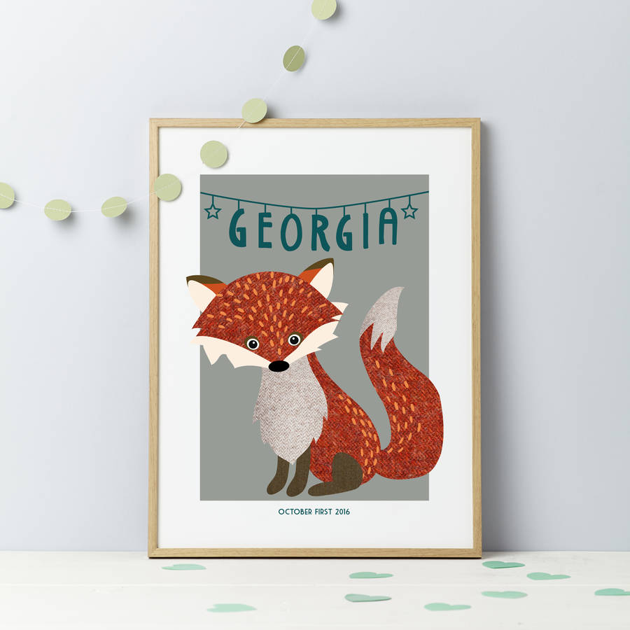 Personalised Tweed Fox Print