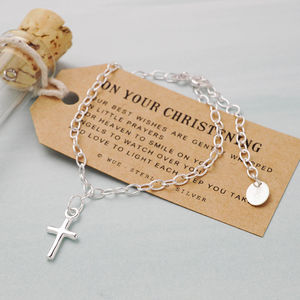 Cross Silver Charm Bracelet - christening jewellery
