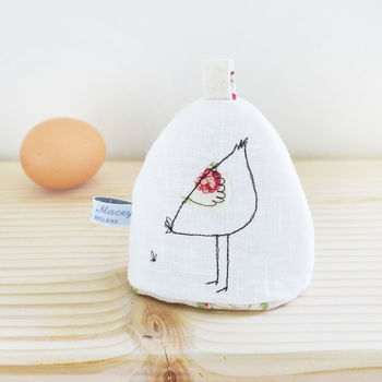 Embroidered Hen Egg Cosy - Ivory