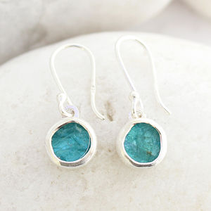 Apatite Round Gemstone Handmade Ladies Earrings