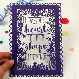 A5 Unframed Papercut For Teachers - summer sale