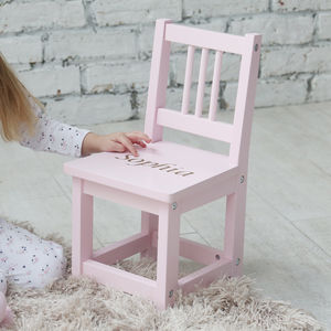 Personalised Pink Wooden Children's Chair - baby's room