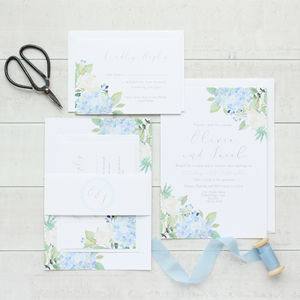 Fleuriste Blue Hydrangea Rose Wedding Invitation Sample - invitations