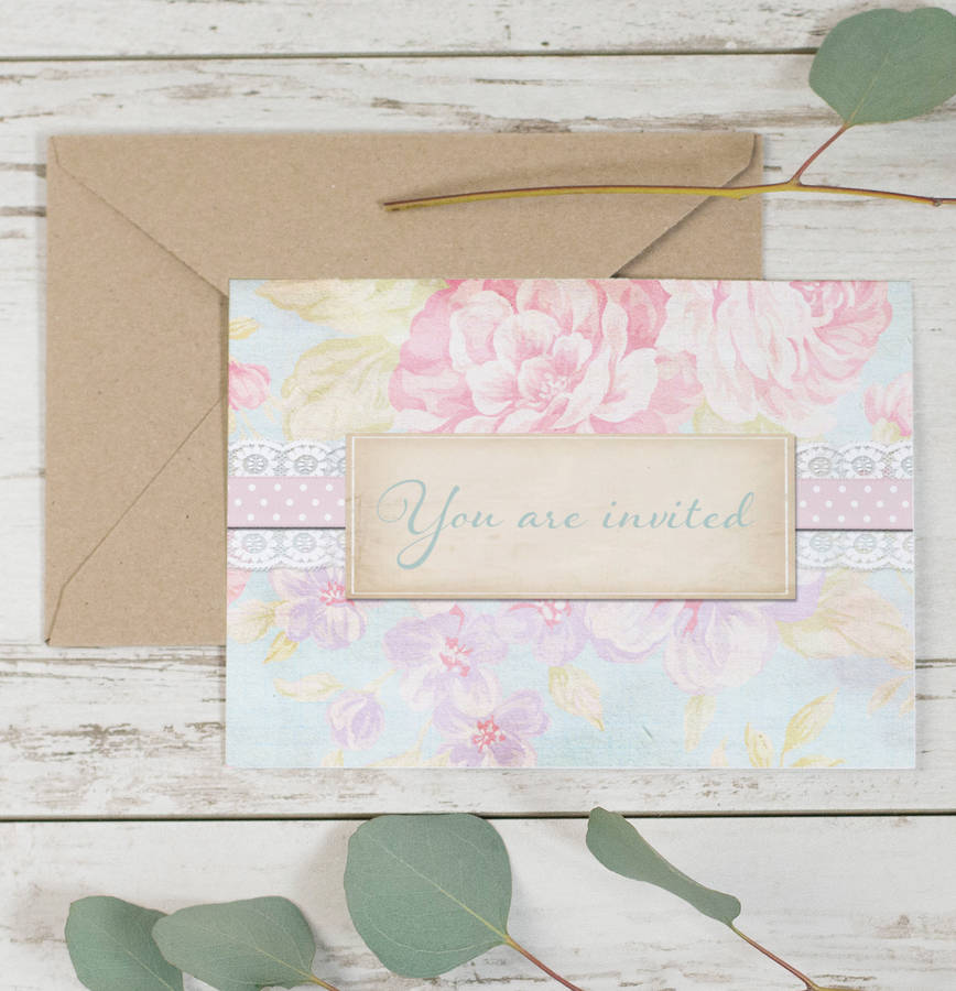 20 Pack Of Pastel Floral Wedding Invitations By Lucy