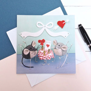 Valentine's Day Dinner Mouse Greeting Card - love & romance cards