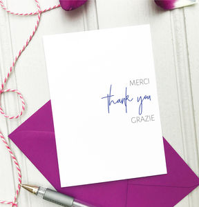 Thank You Card: Merci, Thank You, Grazie
