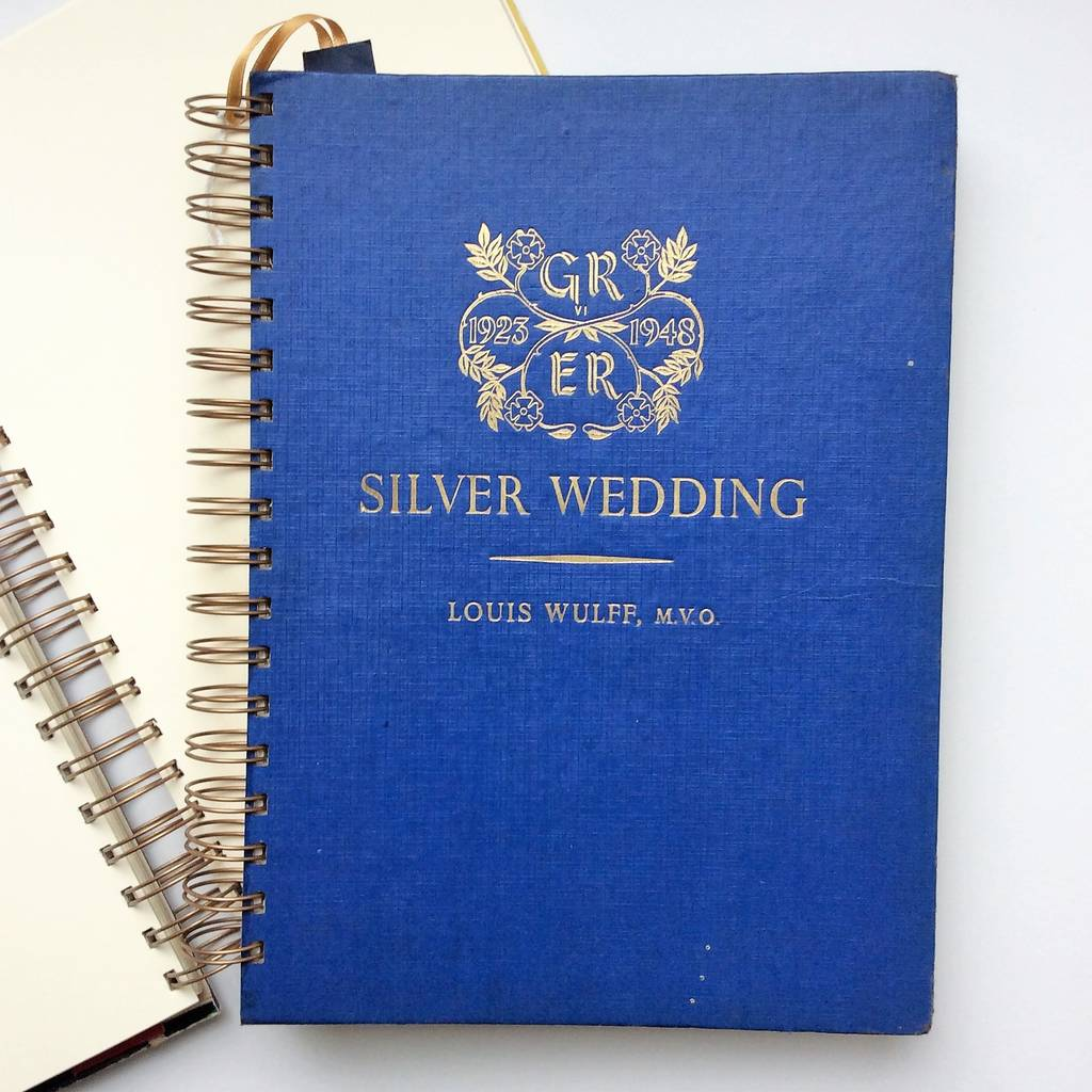 'Silver Wedding' Upcycled Notebook