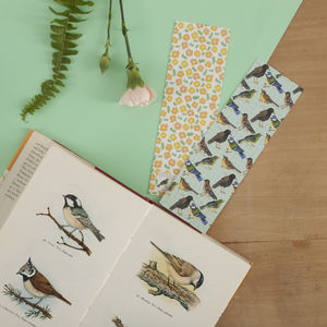 Birds And Flowers Reversible Bookmark