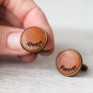 Personalised Curve Engraved Real Leather Cufflinks - gifts for him