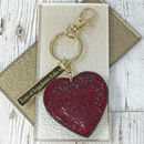 Sparkly Star And Heart Keyring