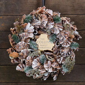 Personalised Traditional Family Christmas Wreath - wreaths