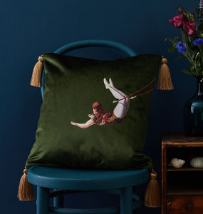 Trapeze Girl Velvet Cushion - cushions