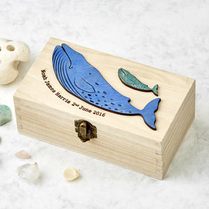 New Baby Boy Whale Christening Keepsake Box - boxes, trunks & crates