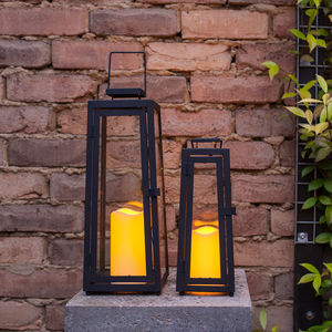 Set Of Two Brisbane Solar Candle Lanterns